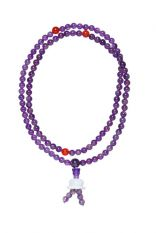 Amethyst mala w/lotus, 6 mm